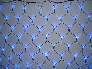 イルミネーション 180球ネットライト連結専用/電源部別売り/ブラックコード LR180B 青 ブラックコード 防水規格IPX4 100V コネクター連結可