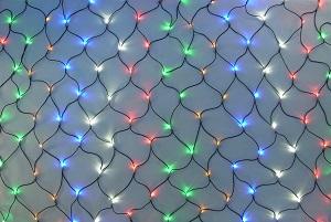 イルミネーション 180球ネットライト連結専用/電源部別売り/ブラックコード LR180M5 5色ミックス ブラックコード 防水規格IPX4 100V コネクター連結可