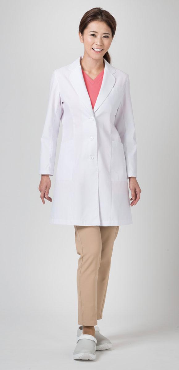 女性用デザイン診察衣【レディースコート】 白衣 ワコール フォーク 【Hi401-1】