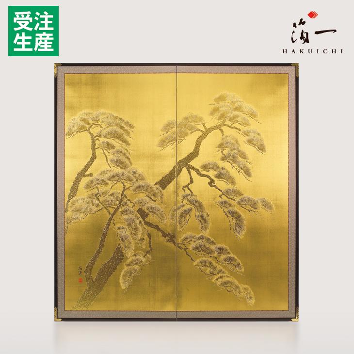 利休屏風 寿松(金)|金沢金箔の箔一(はくいち)|
