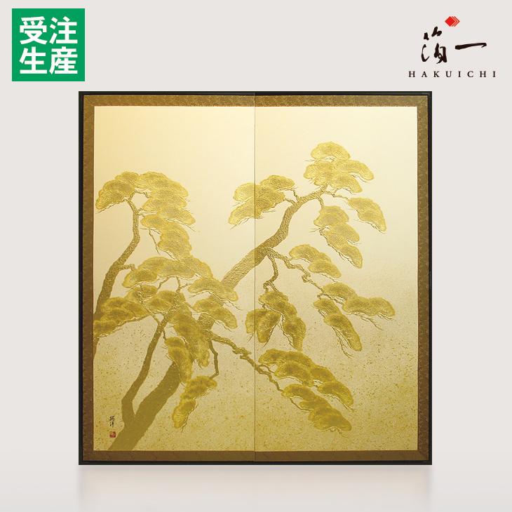 利休屏風 寿松(白)|金沢金箔の箔一(はくいち)|