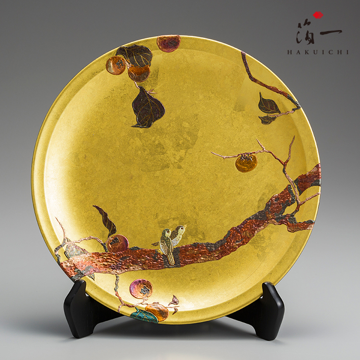 飾り皿 柿に目白|金沢金箔の箔一(はくいち)|