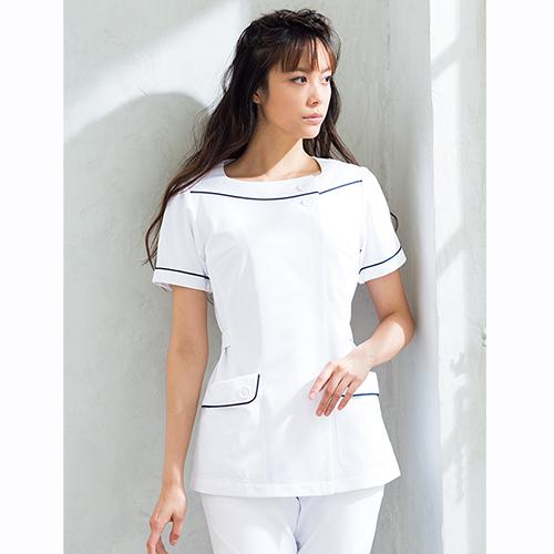 HI208 ワコール チュニック 半袖 白衣 医療用白衣 看護師用 白 ホワイト ナース服 ナースウェア エステ 制服 通販 白衣ネット フォーク製品 送料無料