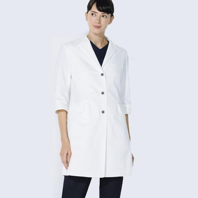 UN-0081 UNITE ユナイト チトセ CHITOSE ドクターコート 七分袖 女性用 (動きやすい ストレッチ 制菌 レディース白衣 診察衣 シングル 白衣ネット)