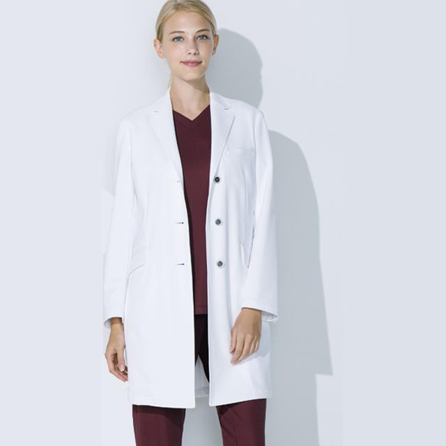 UN-0084 UNITE ユナイト チトセ CHITOSE ドクターコート 長袖 女性用 (シワになりにくい 動きやすい 白衣 診察衣 シングル ストレッチ レディース 白衣ネット)