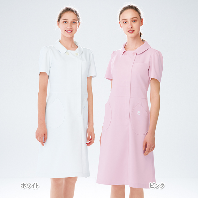 KM2157 ケイタマルヤマワンピース (白衣 医療用白衣 看護師用 ナース 白 ホワイト ピンク ナガイレーベン NAGAILEBEN 白衣ネット)