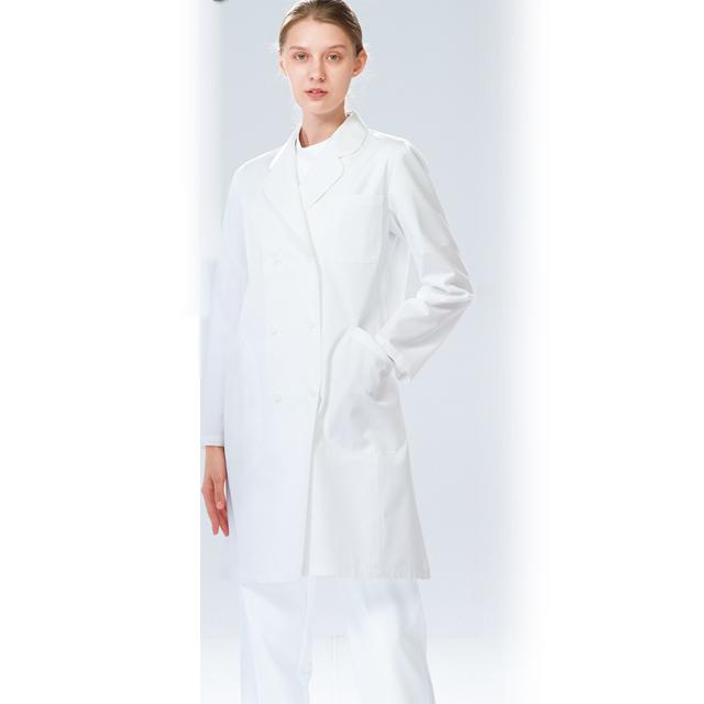 EM3025 ナガイレーベン NAGAILEBEN Naway 女子ドクターコート 女性用 エミット 女子 ダブル 診察衣(レディース ホワイト 白衣ネット)