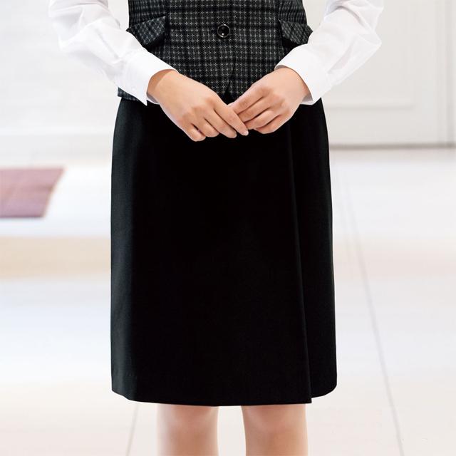 FS45759 フォーク オフィスウェア アジャスター付き ラップスカート 女性用 ウエスト調整 滑り止めテープ ホームクリーニング 洗濯可 FOLK ワークスタイル スーツ OL 会社 通勤 受付 レディース レディス グレー ブラック 黒 動きやすい