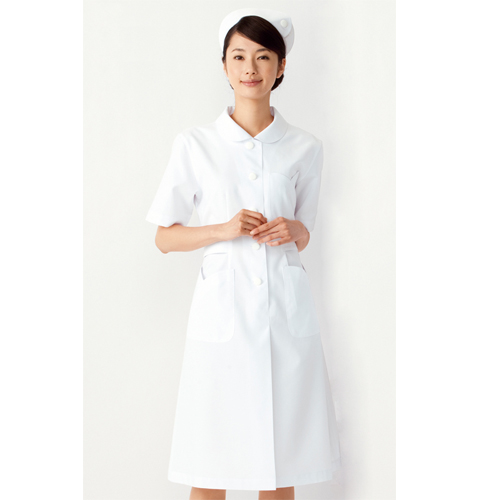 YW10 渡辺雪三郎 Yukisaburo Watanabeワンピース (白衣 医療用白衣 看護師用 ナース 大きいサイズ 白 ホワイト ピンク KAZEN カゼン 白衣ネット)