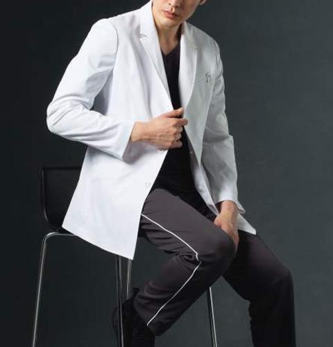 JK192 コシノジュンコ メンズ ドクターコート(ショート) モンブラン 男子 診察衣 長袖 シングルボタンタイプ [送料無料] montblanc 通販 白衣ネット)