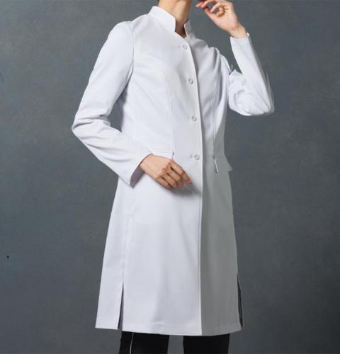 JK113 コシノジュンコ JUNKO KOSHINO JUNKOuni レディース ドクターコート(ロング・スタンドカラー) レディスコート 女性用コート ロングコート 医療用コートモンブラン(MONTBLANC) 女子 診察衣 長袖 シングルボタンタイプ 白衣ネット)