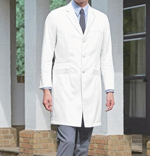 KZN210 BIANCA BY KAZENカゼン メンズ診察衣シングル型 長袖白衣 (白衣 医療用白衣 医師用 ドクター 男性 白 ホワイト 男性用 白衣 診察衣 実験衣 通販 白衣ネット)