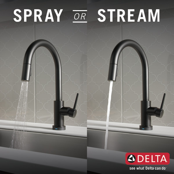 DELTA Dell Tatlin chic kitchen faucet touch faucet single lever mat black  9159T-BL-DST touch sensor