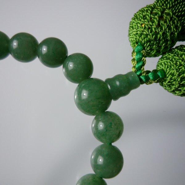 女性用数珠 念珠 印度翡翠 プレゼント アベンチュリン 桐箱入り 信用 女性用 正絹房仕上げ 数珠