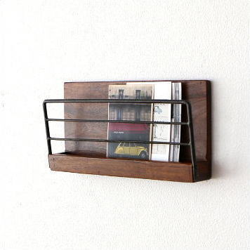 Completely new hakusan | Rakuten Global Market: Wall shelf wall rack wooden iron  DW72