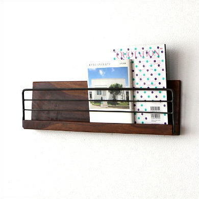 Wall Shelf Rack Wooden Iron Magazine This Storage Pocket Letter Racks Ornament Show And Newspaper Cd Shelves