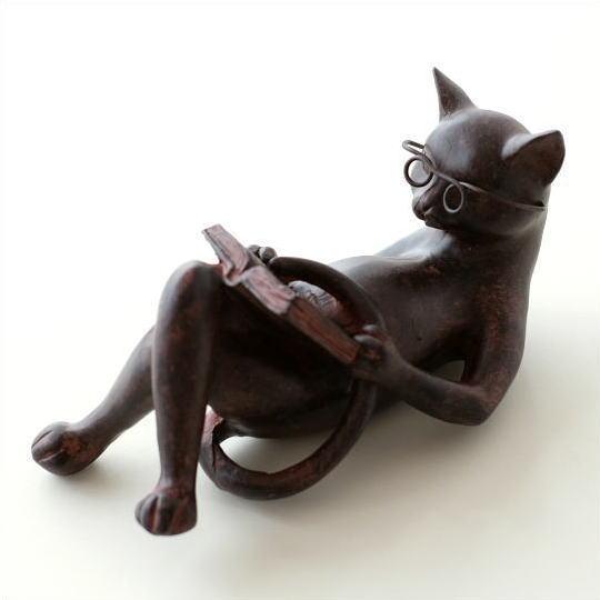 腹筋読書キャット 猫 ネコ 激安挑戦中 ねこ 置物 35%OFF オブジェ インテリア かわいい 雑貨