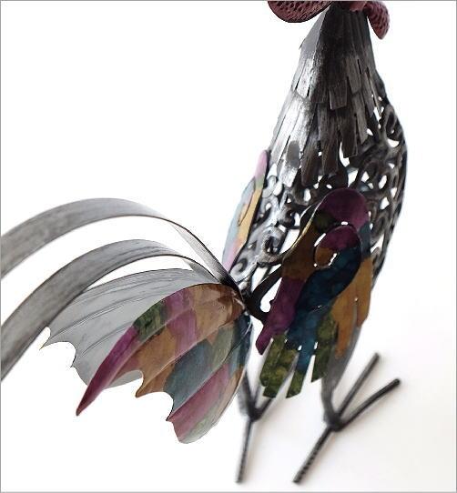 鶏 置物 ブリキ かわいい おしゃれ にわとり インテリア 可愛い カラフル スタイリッシュ モダン ブリキのオブジェ ニワトリB