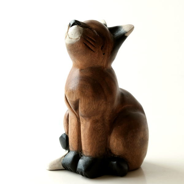 Cute Cat Figurine Carved Interior Sculpture Accessories Wooden Asian Goods Gadgets