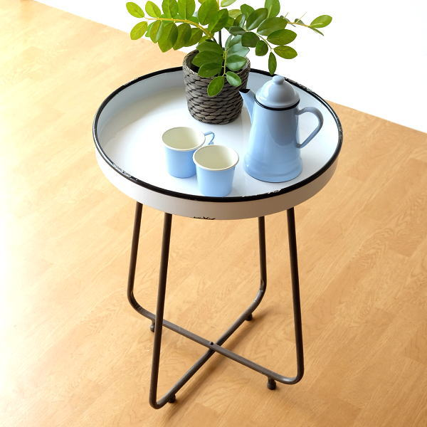 トレイテーブル ホーロー サイドテーブル 白 ホワイト おしゃれ 丸テーブル レトロ アンティーク ナチュラル かわいい 花台 観葉植物 フラワースタンド 琺瑯のトレイテーブル