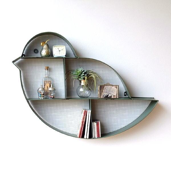 ウォールシェルフ アイアン アンティーク 飾り棚 壁 壁掛け 棚 シェルフ ウォールラック おしゃれ モダン 鳥 デザイン インテリア ディスプレイラック 壁面 収納 アイアンとメッシュの壁掛棚 バード