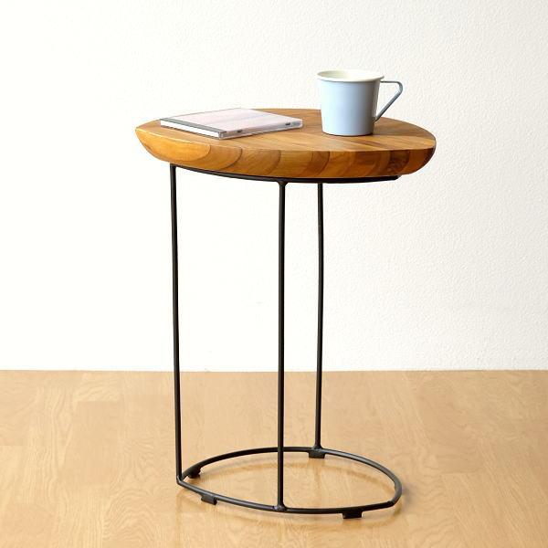 サイドテーブル 木製 ソファーサイドテーブル アイアン ソファーテーブル ベッドサイドテーブル 天然木 おしゃれ デザイン モダン ナチュラル コーヒーテーブル カフェテーブル コーナーテーブル 木製 花台 完成品 送料無料 アイアンとウッドのリーフテーブル