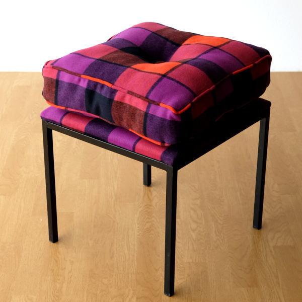 クッションチェア スツール クッション 椅子 おしゃれ 大きい 四角 スクエア 正方形 デザイン エレガント スタイリッシュ チェック柄 チェアー&クッション オレンジ