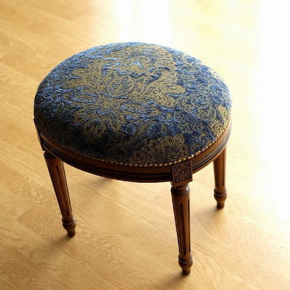 スツール アンティーク クラシック おしゃれ 椅子 いす 布張り 木製 エレガントなオーバルスツール ブルー