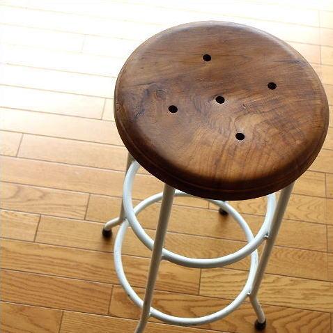ハイスツール 木製 アイアンスツール 椅子 天然木 カウンターチェア カウンタースツール アンティークスツール レトロ シャビー カントリー ナチュラル おしゃれ キッチンスツール 白 アンティーク 高さ70cm 送料無料 ホワイトアイアンとウッドのスツール L