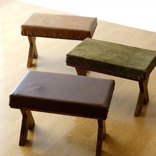 スツール 木製 本革 おしゃれ レトロ アンティーク レザースツール 革製 レザーチェア 天然木 マンゴーウッド 無垢材 鋲打ち 低い椅子 ロースツール ローチェア ダークブラウン カーキ キャメル ウッド&レザーレクタングルスツール 3タイプ