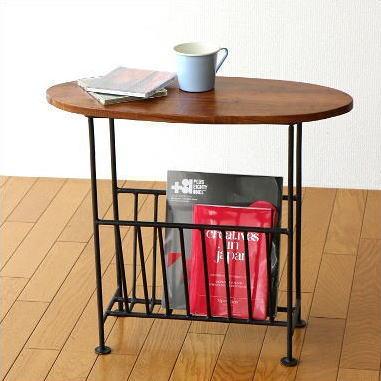 Table With Magazine Rack Fashionable Slim Magazine Stand Magazine インテリアアイアン  Natural Wood Storage Furniture Side ...