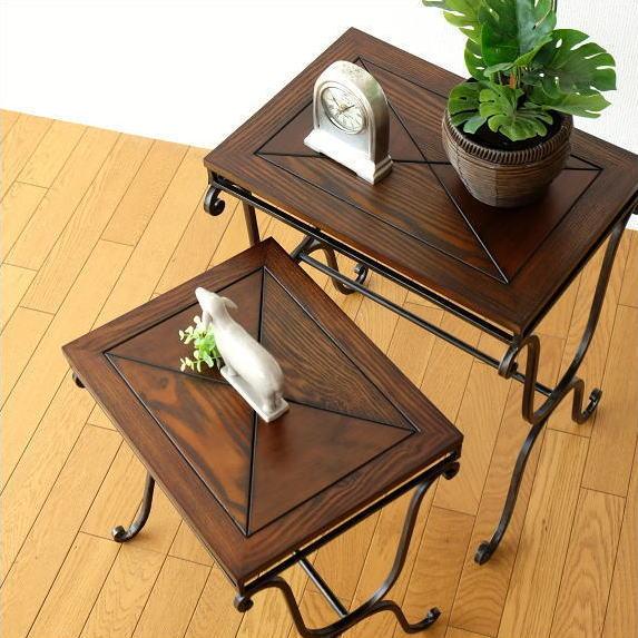 サイドテーブル 木製 おしゃれ アンティーク ネストテーブル 花台 クラシック エレガント コーヒーテーブル カフェテーブル ナイトテーブル アイアン 鉄脚 ブラウン デザイン 玄関 リビング ディスプレイ ウッドネストテーブル 2サイズセット