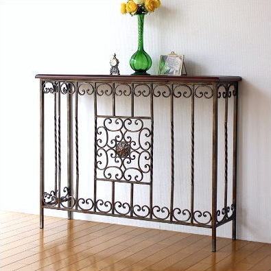 Elegant Console Table Wooden Iron Classic Antique Style Console Table  Antique Flower Stand Console Iron Furniture