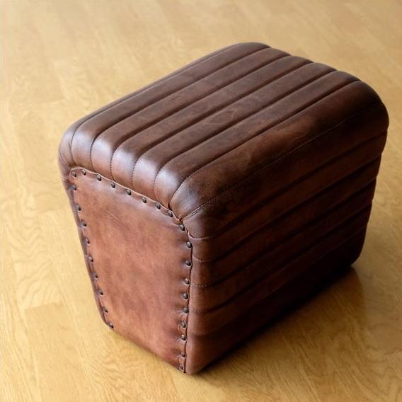 スツール レザー 本革 おしゃれ アンティーク レトロ かっこいい ボックス 椅子 イス レザーチェア ベンチ 腰掛け リビングチェア ヴィンテージ ビンテージ 家具 デザイン レザーボックススツール スクエア