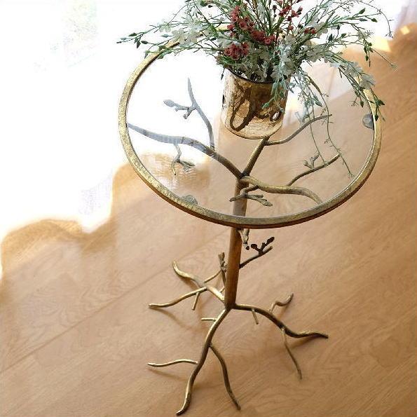 サイドテーブル ガラス アイアン おしゃれ アンティーク ゴールド 丸 円形 ラウンド 丸テーブル 高さ75 モダン クラシック エレガント 木の枝 デザイン 花台 フラワースタンド レトロなガラススタンド