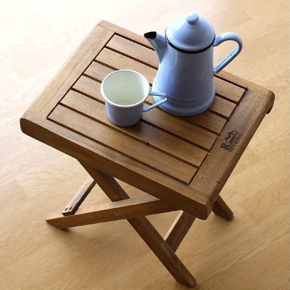 折りたたみテーブル サイドテーブル 木製 天然木 アカシアウッド すのこ おしゃれ ナチュラル コンパクト フォールディングスモールテーブル