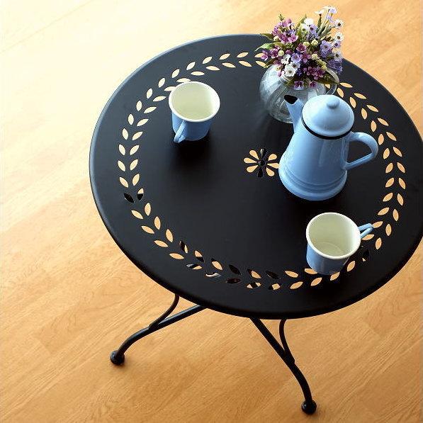 ガーデンテーブル おしゃれ アイアン 黒 エレガント 丸テーブル ラウンドテーブル カフェテーブル 屋外 エクステリア インテリア ベランダ テラス バルコニー メタルブラックガーデンテーブル
