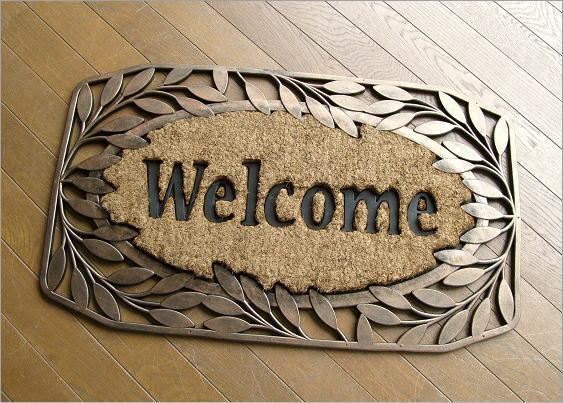 玄関マット 屋外 おしゃれ 屋外用玄関マット ココヤシ コイヤーマット ココマット 玄関マット ガーデンマット ラバーマット 玄関マット 屋外ドアマット ゴムマット モダン 北欧 アジアン アンティーク風 Welcome ウェルカム玄関マット エントランスマット F