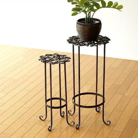 花台 フラワースタンド おしゃれ アイアン 鉢台 鉢スタンド アンティークゴールドのスタンド2サイズセット