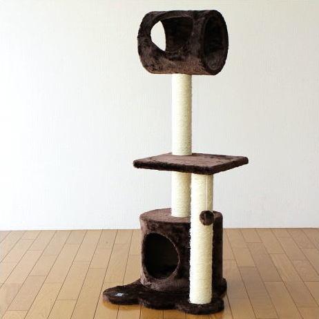 キャットタワー 置き型 猫 ねこ ネコ おもちゃ 猫タワー 爪とぎ キャットトンネル キャットツリー ブラウン