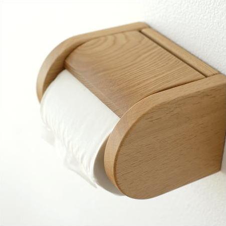 トイレットペーパーホルダー 木製 ウッド おしゃれ ワンタッチ式 シンプル デザイン ナチュラル 和風 日本製 ナラ無垢材 天然木 手作り ウッドペーパーホルダー C
