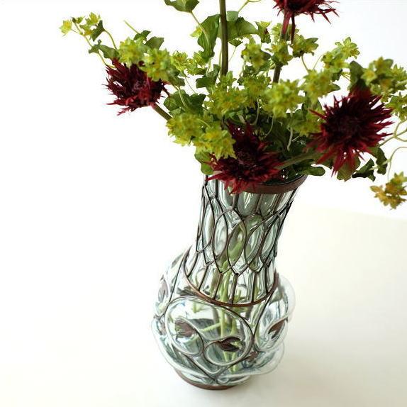 花瓶 花びん ガラス フラワーベース おしゃれ 花器 メタルグラスベース トールリーフ