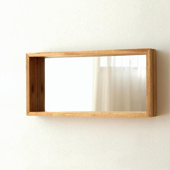 壁掛けミラー シンプル 木製 おしゃれ ウォールミラー 鏡 壁掛け 木 ウッド ナチュラル モダン 長方形 横長 棚 スクエア 玄関 ウォールハンギングミラー