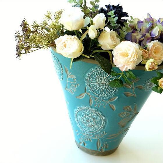 フラワーベース 花瓶 陶器 花器 おしゃれ アンティーク 花瓶 横長 口が広い 大きい フラワーベース 花入れ 花びん フラワーアレンジ 洋風 モダン かわいい デザイン 花瓶 インテリア フラワーベース クラシックなベース ラグーンブルー