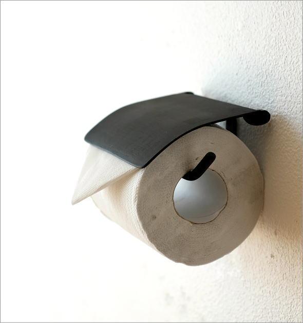 トイレットペーパーホルダー カバー 真鍮 アンティーク モダン シンプル おしゃれ ブラック 黒 金属製 ブラスペーパーホルダー BKシンプル