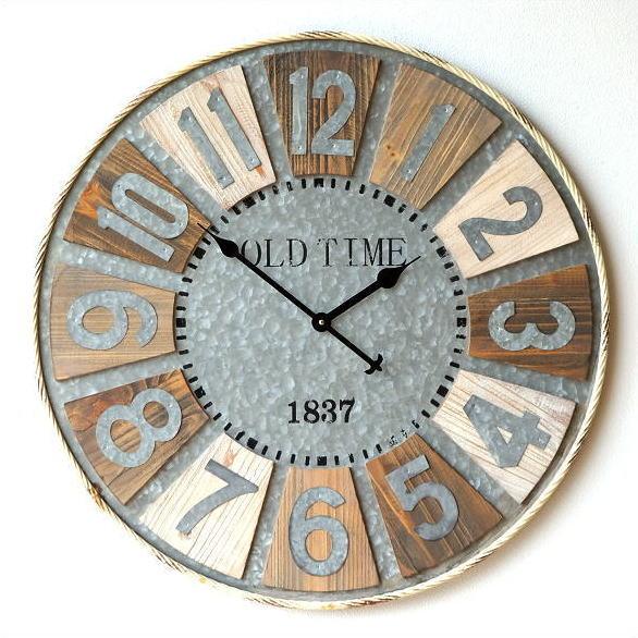壁掛け時計 壁掛時計 掛け時計 掛時計 大きい 直径80cm アンティーク ヴィンテージ おしゃれ 木製 天然木 スチール レトロ デザイン ウォールクロック ビッグな掛け時計