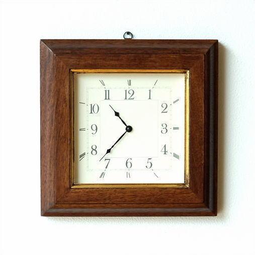壁掛け時計 壁掛時計 掛け時計 掛時計 木製 イタリア製 おしゃれ シンプル モダン 天然木 ブラウン ゴールド ウッドウォールクロック 四角