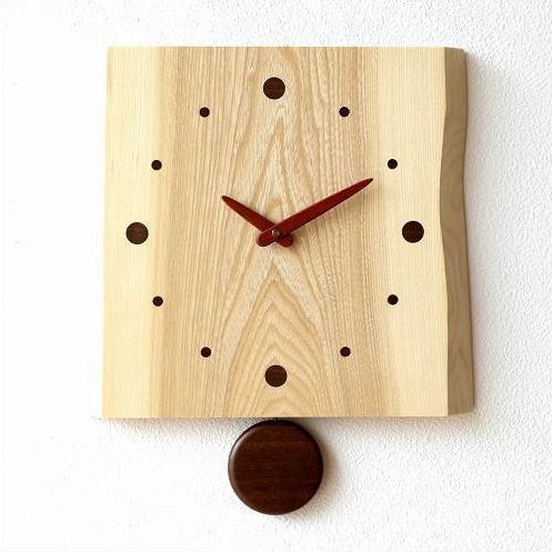 振り子時計 壁掛け おしゃれ 木製 日本製 手作り 天然木 無垢材 シンプル 木の振り子時計 バーク