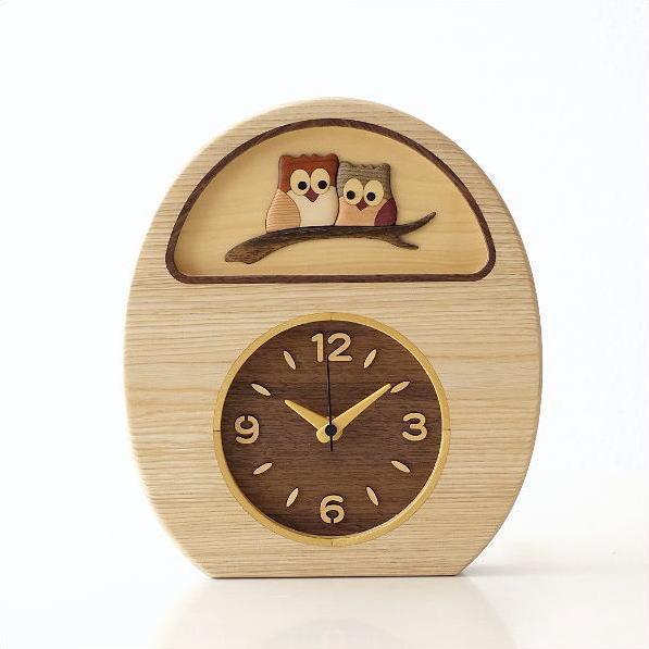 置き時計 壁掛け時計 壁掛時計 掛け時計 掛時計 アナログ ふくろう かわいい おしゃれ 天然木 木 木製 無垢 ナチュラル 可愛い 見やすい 子供部屋 手作り 日本製 インテリア ブラウン スイープセコンド   ウッドフクロウの掛け置き時計