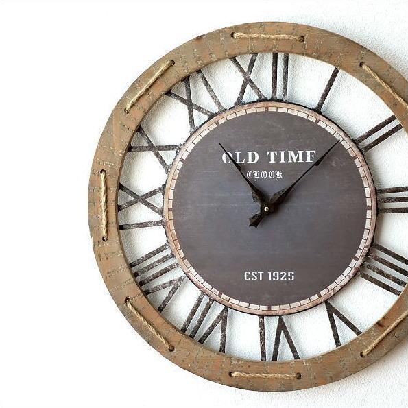 壁掛け時計 壁掛時計 掛け時計 掛時計 60cm 大きい 木製 アイアン クラシック ウォールクロック アンティーク ヴィンテージ ビンテージ レトロ ヨーロピアン ブロカント おしゃれ ローマ数字 丸 インテリア ビッグな掛時計60